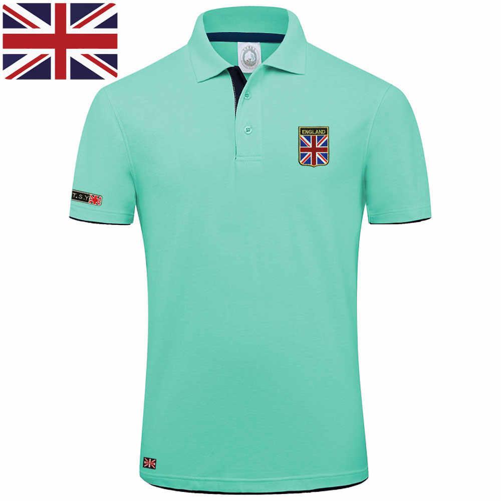 Wysokiej jakości marka MYDBSH letnia koszulka Polo z krótkim rękawem koszula mężczyzna moda flaga wielkiej brytanii haft Casual męskie koszulki Polo bawełniane topy