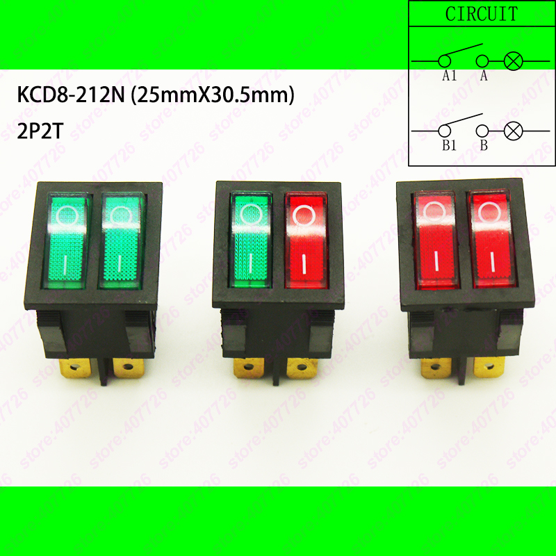 1PC KCD8-6PIN Double Rocker Switch ON-OFF Seesaw Boat Power Switch With 220V Red Green Light 25mm x 30.5mm With Waterproof Cap 2pcs lot red 4 pin light on off boat button switch 250v 16a ac amp 125v 20a