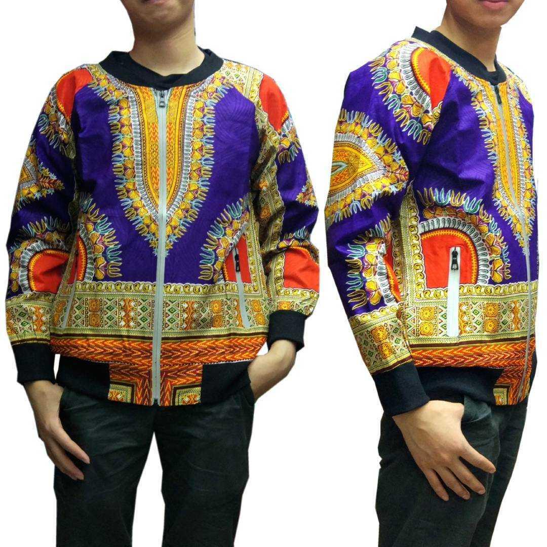 Veste de Baseball dashiki africaine Hiphop afrique Bazin Riche vêtements 3D motif imprimé zipper Batik manteau blouson aviateur A61205