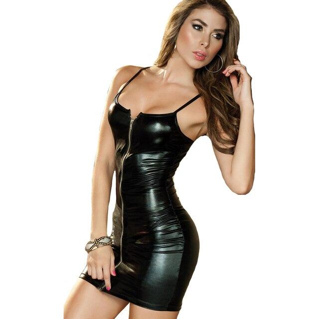 Black Sexy Lingerie Evening Leather Nightgown Dress Sexy Bodycon Bandage Clubwear Latex Costumes Women Nightdress Babydolls