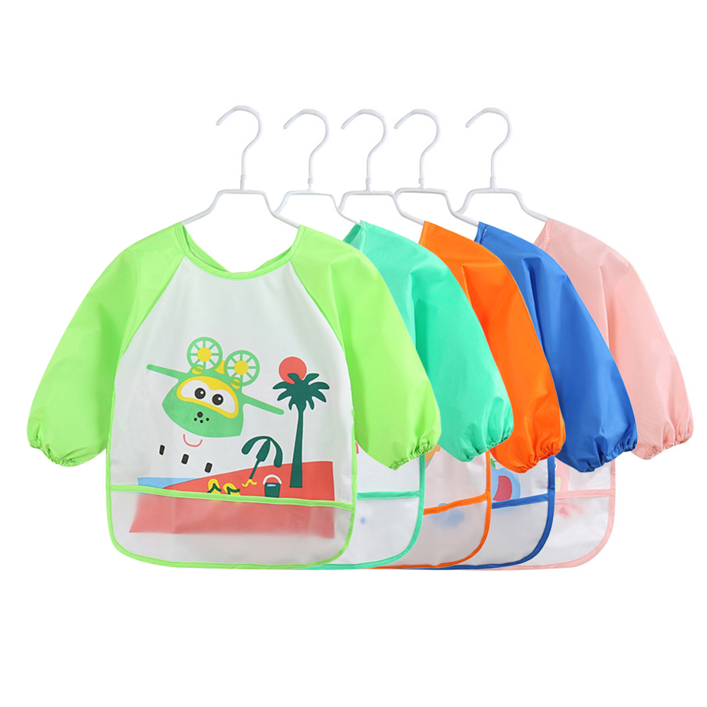 Lovely Baby Bibs Infant Long Sleeve Waterproof Baby Feeding Smock Apron Children Plastic Coverall Bib Toddler Newborn Bib Apron-in Bibs & Burp Cloths from Mother & Kids