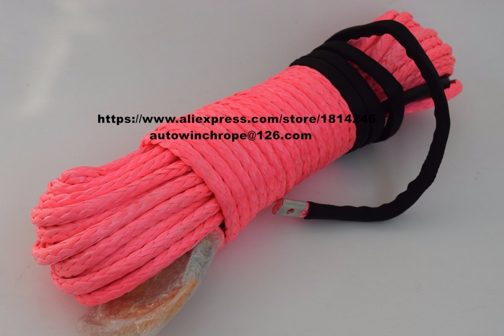 Pink 3/8*100ft ATV Synthetic Winch Cable,Plasma Winch Rope,Boat Winch Rope for Accessaries,UHMWPE Rope