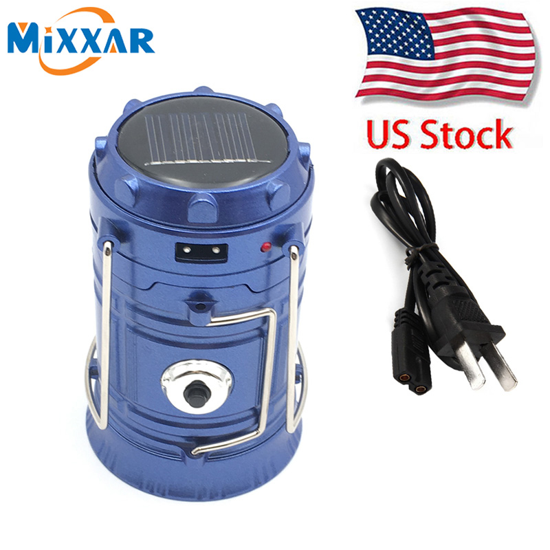 US STOCK Rechargeable Camping Light Collapsible Solar Camping Lantern Portable Tent Lights Lanterns Outdoor Camping Hiking