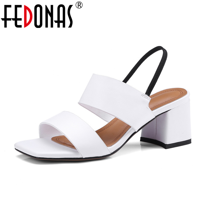 FEDONAS 2018 Women Sandals Summer Ankle Strap Flip Flops Shoes Woman Genuine Leather Shoes Ladies High Heeled Sandalas Women утюг marta mt 1146 800вт синий