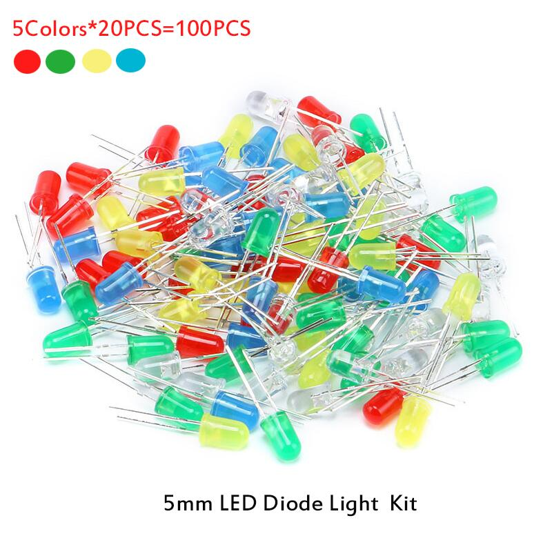 100pcs 5mm LED Diode Light Assorted Kit DIY LEDs Set White Yellow Red Green Blue Electronic Diy Kit Hot Sale