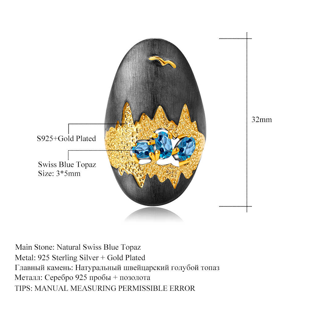 GEM'S bale 0.80Ct doğal İsviçre mavi Topaz taşlar yüzük 925 ayar gümüş el yapımı mağara hazine yüzük kadınlar takı için
