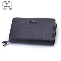 Yin te модный мужской кожаный клатч, роскошный высококачественный деловой кошелек на молнии, держатель для телефона, карман для паспорта, коше
