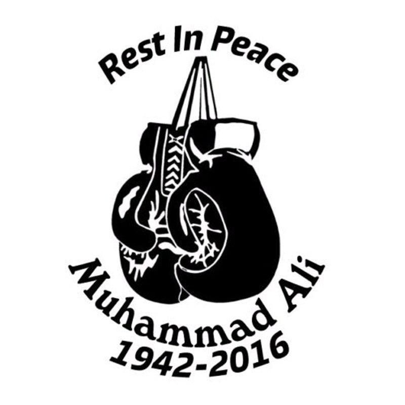 10.2CM * 14CM voiture fenêtre autocollant extérieur autocollant Muhammad Ali boxe moto voiture autocollants et décalcomanies en argent noir C8-0341