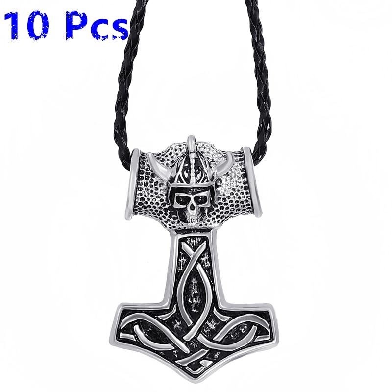 Wholesale 10 Pcs Mens Boys Large Thor's Hammer Skull Knight Mjolnir Pewter Pendant Necklace Jewelry WLP294