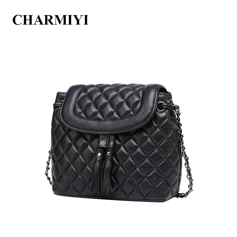 CHARMIYI Brand Genuine Leather Women Messenger bags Small Bucket Tassel Handbags Lady Designer Fashion Shoulder Crossbody bag genuine leather fashion women handbags bucket tote crossbody bags embossing flowers cowhide lady messenger shoulder bags