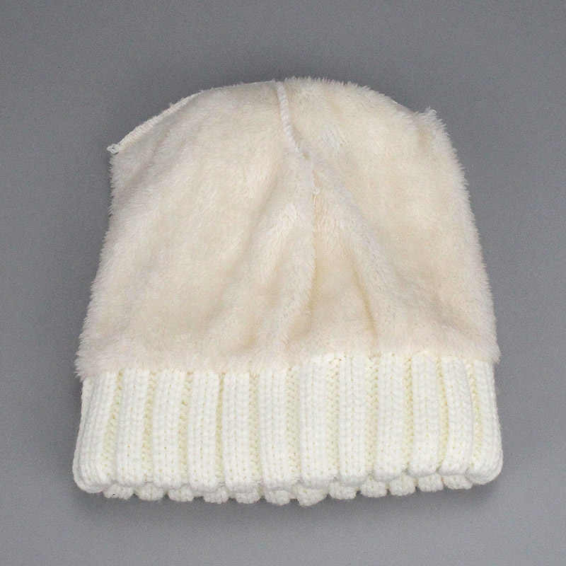 dec2ecb1969719 ... Winter Women Pom Pom Hats Lining Heater Beanies Add velvet Fleece  Inside Warm Solid Black White