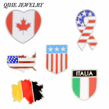 QIHE JEWELRY Germany Canada Italia America Flag Map Enamel pins Brooches Badges Lapel pin Brooches for men women(China)