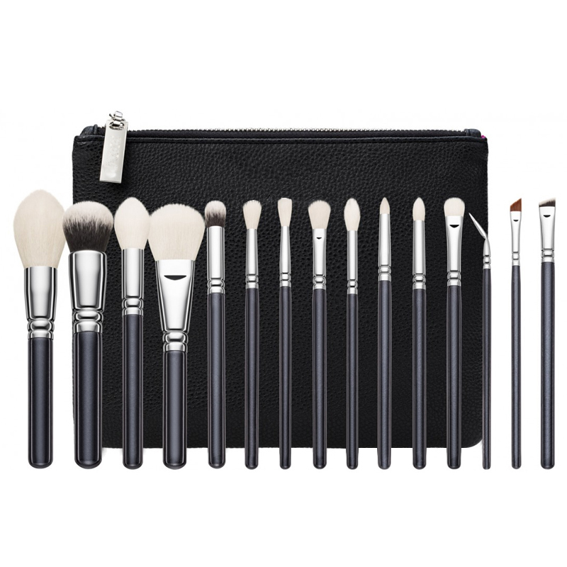 Top Quality Brand Makeup Brushes set complete luxury cosmetic tool rose golden brush kit blend with leather bag Professional