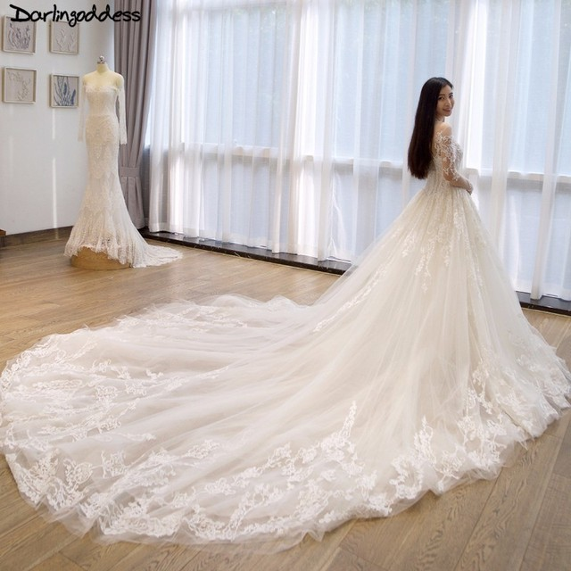 Vestido De Novia Luxury Dubai Long Sleeve Muslim Wedding Dress Lace Appliques Long Train Wedding Gowns Plus Size Casamento