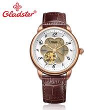 Gladster люксовый бренд Япония Miyota 8N24 модные автоматические самовзводные мужские часы деловые часы полые кожаные мужские наручные часы
