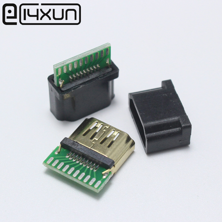 EClyxun 1pcs/lot Gold Plated HDMI A Type Female Socket With PCB Board Solder Type With Plastic Shell