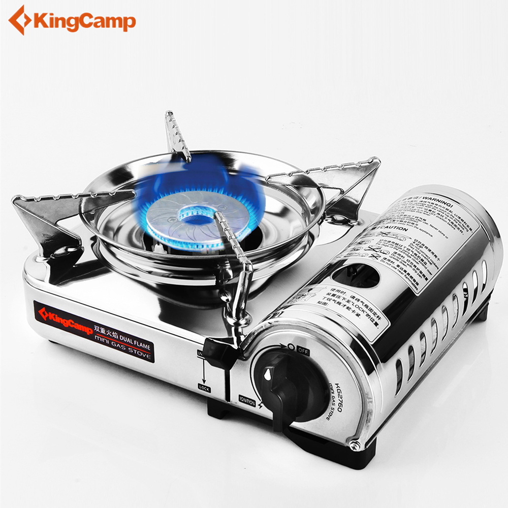 KingCamp Outdoor Camping Gas Stove Gas furnace Stainless Steel Mini Cooker With Carrying Case outdoor portable ultra mini stainless steel gas stove with a case