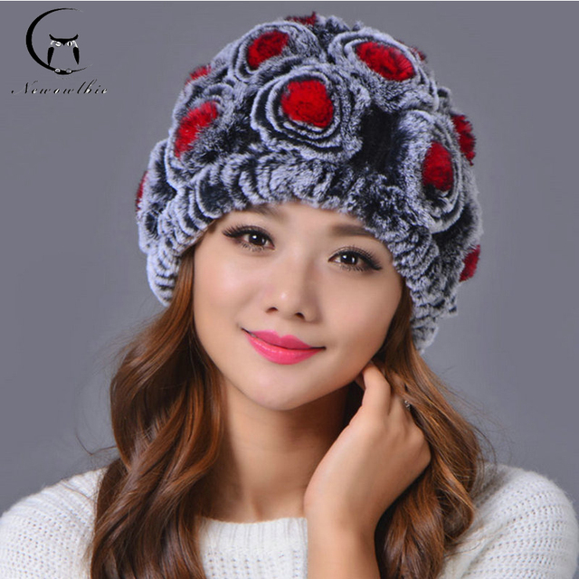 Hot Sale Fur Knitted Hat Women Winter Hat For Women Hat Fashion Warm Real Rabbit Fur Hat Thick Beanies Female Cap Free Shipping