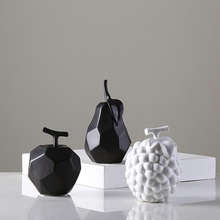 Modern Mini Ceramic creative fruit figurines & Miniatures black white ceramic Crafts  For Home wedding Decoration