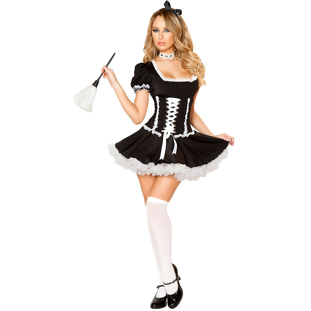 S-3XL Sexy Women's late Nite French Maid  Costume Women Dress Exotic Apparel Maid costume  Servant Cosplay Dress Plus size