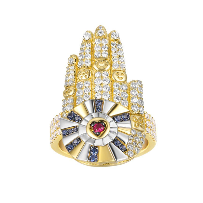 SLJELY Luxury 925 Sterling Silver Yellow Gold Color Hamsa Hand Lucky Palm Rings Micro Cubic Zirconia