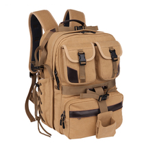 лучшая цена Canvas Digital Large Dslr Camera Bag Waterproof Professional Camera Travel Photo Double-Shoulder Backpack Bag