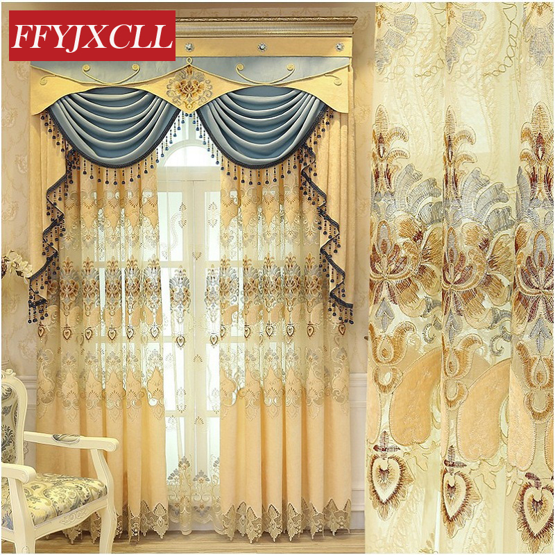 US $22.45 55% OFF|New Europe Home Decoration Luxury Valance Curtains For  living Room Bedroom Windows Flowers Embroidered Tulle Curtains Fabric-in ...