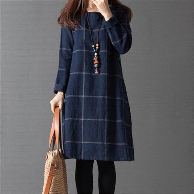 2016 новое поступление Большой размер длинным рукавом плед широкий хлопок белье женщины платье весна и осень Dreeses корейский стиль