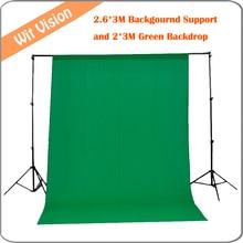 2.6 m * 3 m/8.5ft * pés de Fundo Da Foto Fundo Suporte Sistema de apoio + 2 m * 3 m Verde Foto Cenário