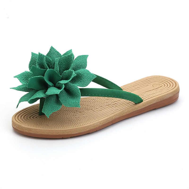XEK çiçek marka kaliteli eğlence kadın terlik yaz ayakkabı plaj flip flop kadın ayakkabısı boyutu 36-40 WFQ63