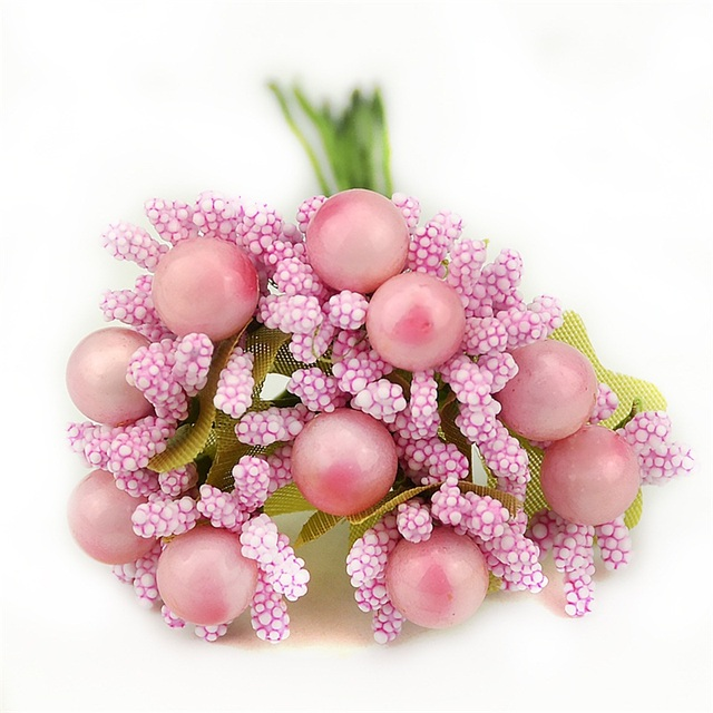 10pcs Pearl Berry Artificial StamenFlower For Wedding Home Decoration DIY wreath Scrapbooking Craft Cheap Fake Foam Flowers 2