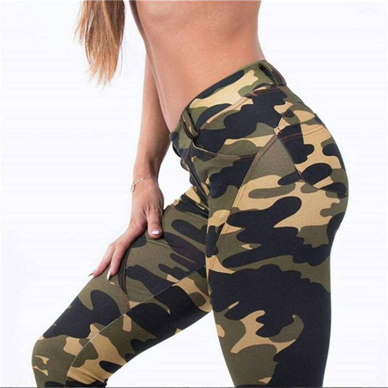 WKOUD Spring Camouflage   Legging   Women's High Waist Push Up   Leggings   Sexy High Elastic Pants Skinny Fitness Streetpants P8749
