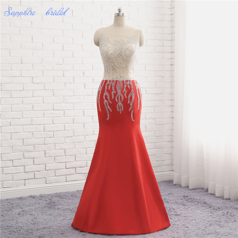 Sapphire Bridal 2018 New Arival Illusion Top Mermaid Red Huge Beaded   Prom     Dress
