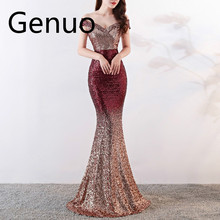 2019 Sexy Sequin Maxi Dress Women Sexy Evening Party Dress Slash Neck Elegant Wedding Vestido de fiesta
