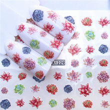 1 Pcs Nail Stickers colorful flower Cactus Water Decal Ocean Plant Pattern 3D Manicure Sticker Nail Art Decoration(China)