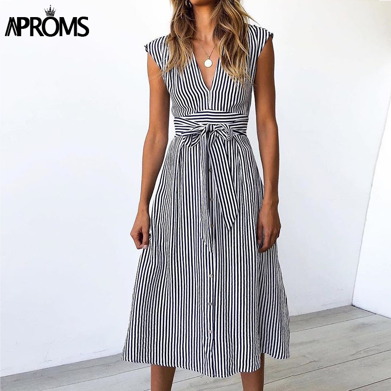 Aproms Vintage Stripe Print Midi Dress Women Elegant Deep V Sash Tie Up Bodycon Dresses Female Summer Streetwear Sundresses 19 6