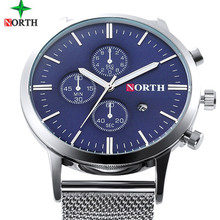 Nuevo Ultra Slim Top NORTH Brand Acero Análogo de Cuarzo Reloj de Hombre de Negocios Casual Reloj de Los Hombres Relogio masculino con el regalo caja