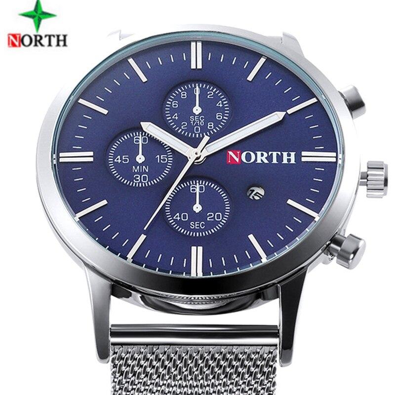 New Ultra Slim Top NORTH Brand Quartz-Watch Men Casual Business Analog Steel Watch Men Relogio Masculino with gift box
