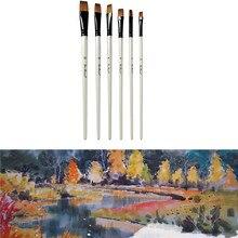 6Pcs Nylon Watercolor art Paint Painting  Brush Art  Acrylic acid  Short Rod and oil brush  School Art Supplies