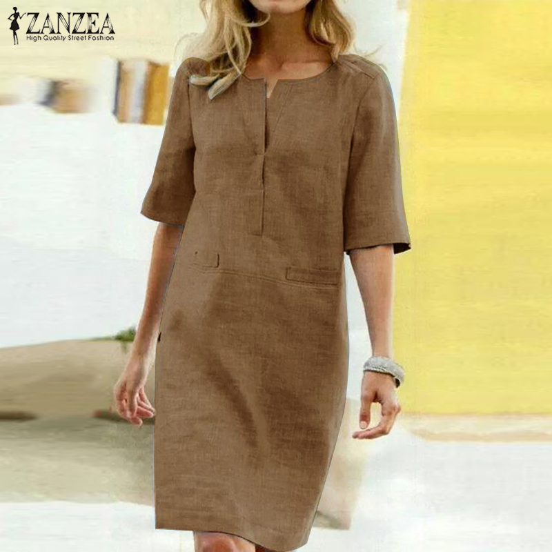 2020 ZANZEA Elegant Women O Neck Short Sleeve Midi Dress Summer Solid Long Shirt Dress Robe Work Sundress Femme Party Vestido