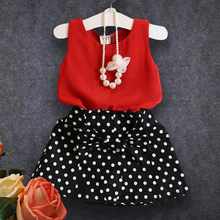 2017 Fashion Summer Children Clothing Sets Kids Girl Outfits Sleeveless Red Chiffon Vest+bow Polka Dot Skirt