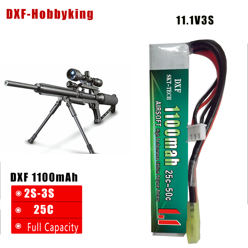 2017 DXF Good Quality RC Lipo Battery 11.1V 1100mAh 25C 3S MaX50C For Mini Airsoft Guns Model RC Battery AKKU 2018 new arrived lipo battery 2s 7 4v 1200mah 20c max 50c with tamiya connector akku for mini airsoft gun battery rc model