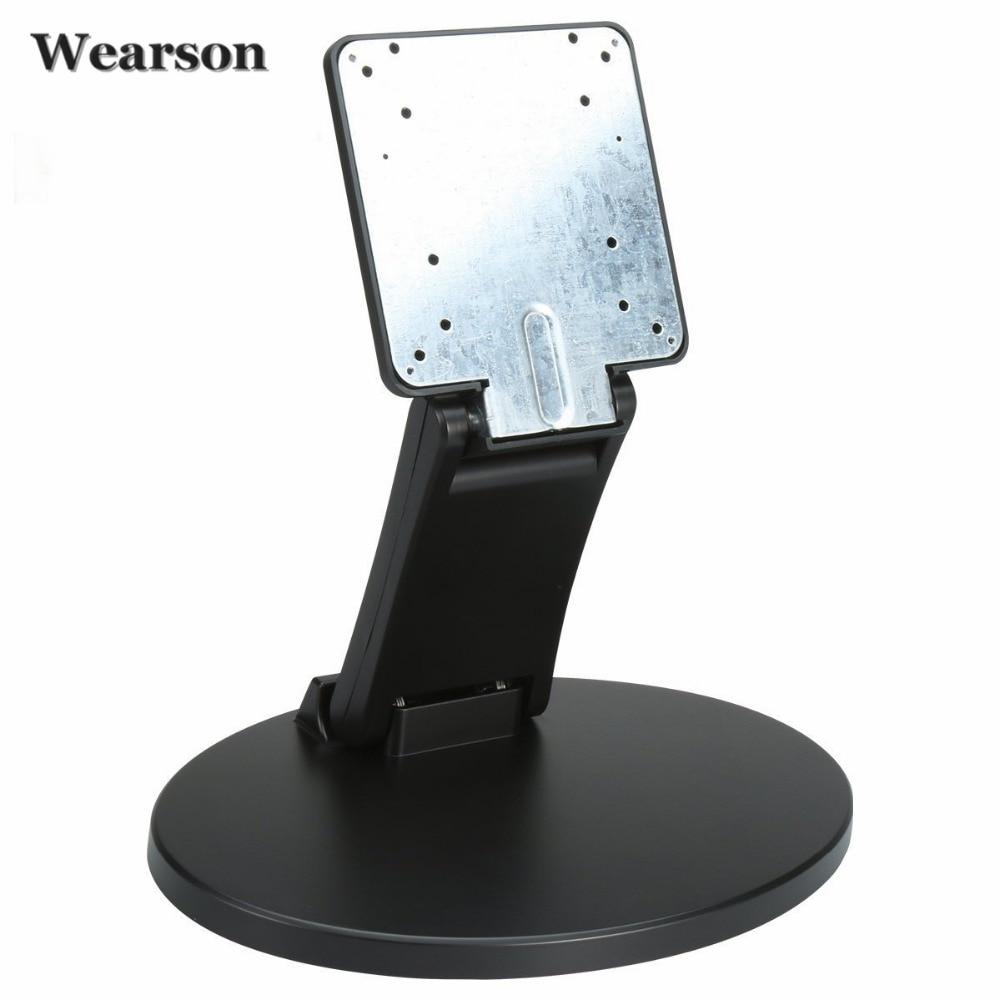 Wearson WS-03C Soporte de TV LCD de metal plegable Monitor de pantalla táctil Soporte de escritorio Soporte con orificio VESA 75x75 100x100mm