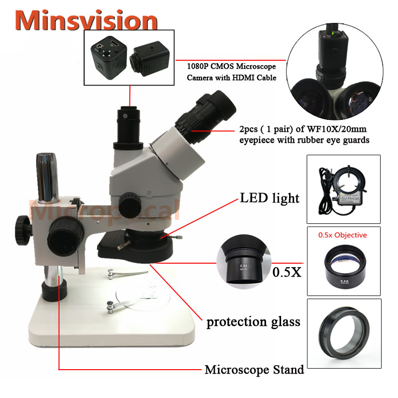 Minsvision 1080P HDMI digital camera 7 45X trinocular stereo microscope LED adjustable light source phone repair