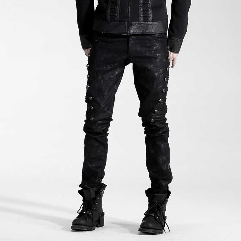 Mode Punk Rock Homme Noir Zip Gothique Hip-Hop Denim DJ crayon pantalon H