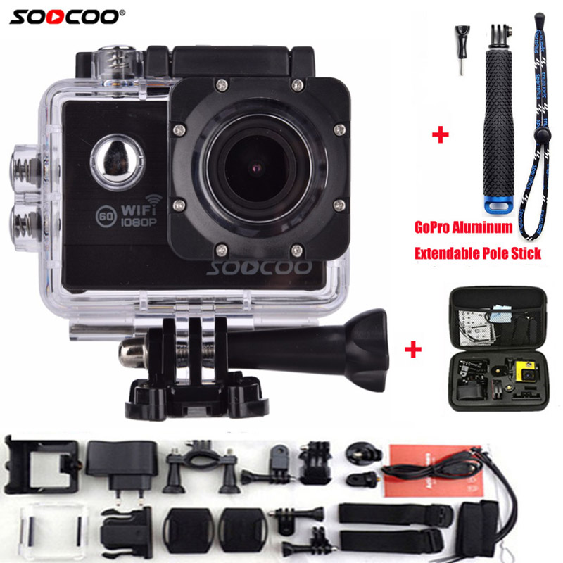 SOOCOO Action Camera C20 Full HD 1080P WIFI Waterproof 170 Wide Angle Sports Cam Extra Aluminum Extendable Pole Stick+ Bag soocoo action camera c20 full hd 1080p wifi waterproof 170 wide angle sports cam extra aluminum extendable pole stick bag