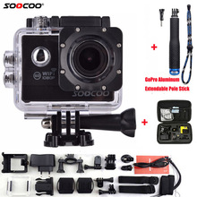 SOOCOO Action Camera C20 Full HD 1080P WIFI Waterproof 170 Wide Angle Sports Cam Extra Aluminum Extendable Pole Stick+ Bag