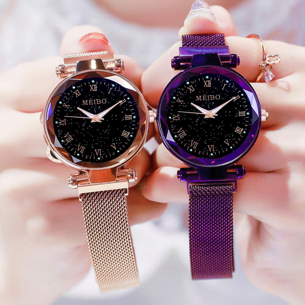 Starry Sky Women Watch Simple Magnet Buckle Luxury Fashion Ladies Watches Geometric Roman Numeral Quartz Watch