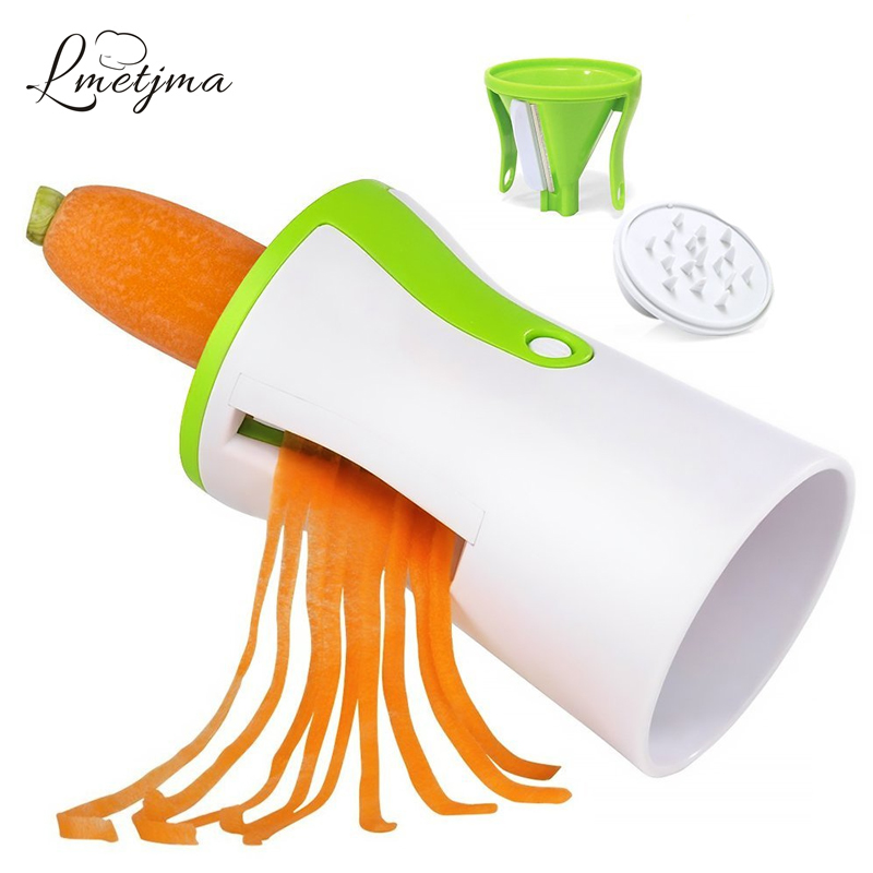 LMETJMA Acier Inoxydable Spiralizer Légumes Trancheuse 3 Lames Main Spirale Trancheuse Spaghetti Fabricant Spirale Carotte Trancheuse LK0823A