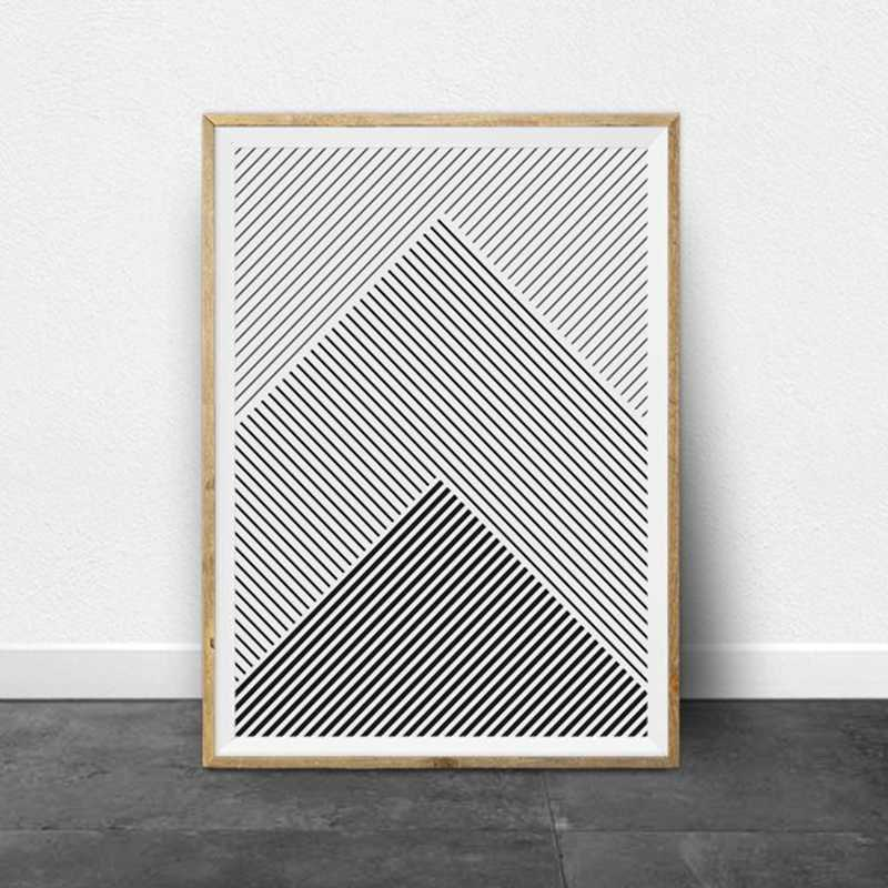 Black and White Stripes Geometric Art Canvas Prints and Poster , Modern Minimalist Lines Ar Painting Pictures Home Wall Decor